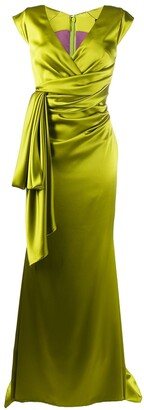 Talbot Runhof Cap Sleeve Draped Waist Dress