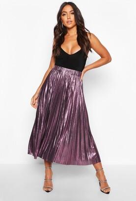 boohoo Pleated Metallic Midi Skirt