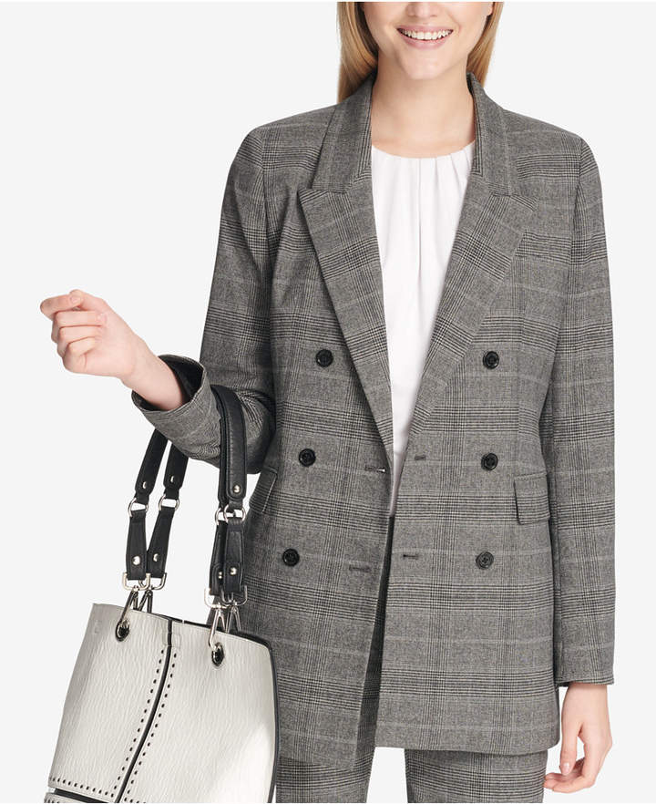 Petite Menswear Plaid Jacket