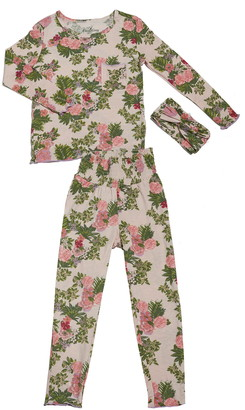 Baby Grey by Everly Grey Charlie Fitted Two-Piece Pajamas & Head Wrap Set