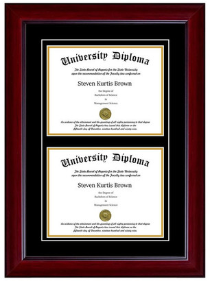 "Perfect Cases, Inc. Double Diploma Frame with Double Matting, Mahogany, 12""x16"""
