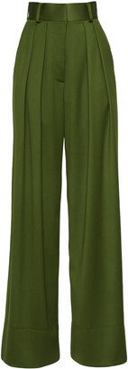 Brandon Maxwell Wide-Leg Wool Satin Faille Pants