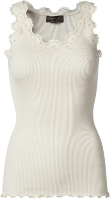 Rosemunde Soft Powder Iconic Silk Top with Vintage Lace (Babette 5205) - XS