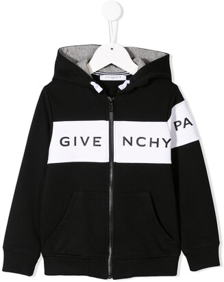 Givenchy Kids logo band zipped hoodie