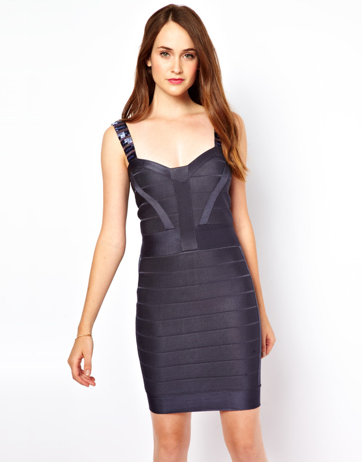 French Connection Bodycon Beaded Strap Dress