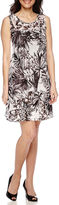 Robbie Bee Sleeveless Printed Chiffon A-Line Dress - Petite
