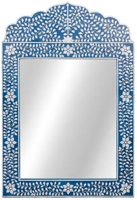 Mother of Pearl Evelyn Mirror Floral Blue