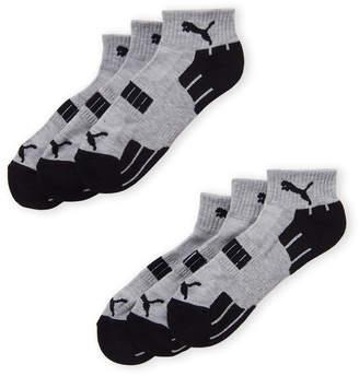 Puma 6-Pack Cushioned Terry Quarter Crew Socks