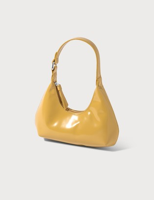 BY FAR Baby Amber Yellow Semi Patent Leather Bag