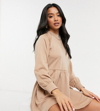 New Look Petite high-neck volume sleeve sweatshirt in stone