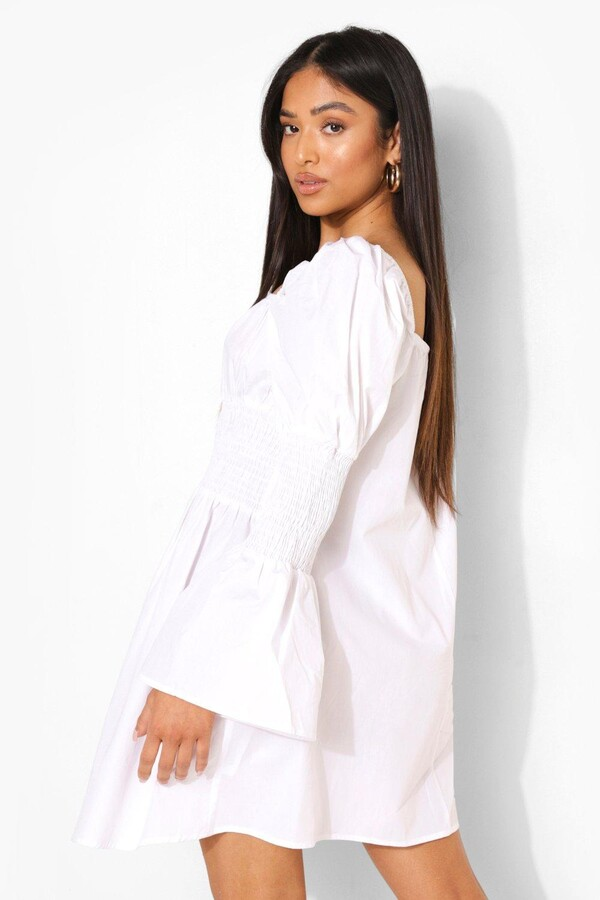 Thumbnail for your product : boohoo Petite Puff Sleeve Square Neck Skater Dress
