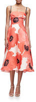 Lela Rose Sleeveless Oversize-Floral Midi Dress, Red/Multi