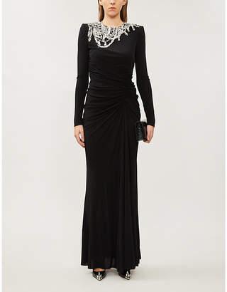 Alexander McQueen Crystal-embellished crepe gown