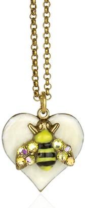 Anne Koplik Swarovski Crystal & Enamel Bee Heart Necklace
