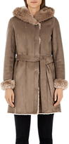 Marc Cain Faux Sheepskin Hooded Coat