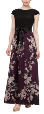 SL Fashions Cap-Sleeve Floral-Skirt Gown
