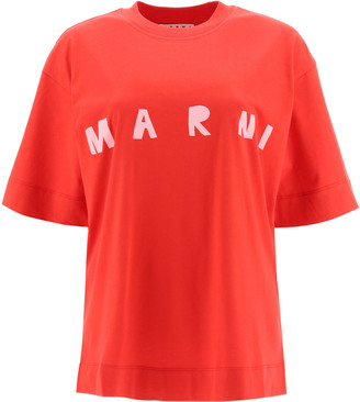 Marni OVERSIZED T-SHIRT WITH LOGO 42 Red, Pink Cotton