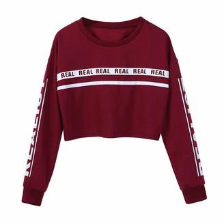 RODMA Tops for Women Women Fashion White Letter Print Crop Sweatshirt Top Blouse(Small