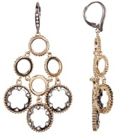 Jenny Packham Tiered Studded Crystal & Ball Chain Trim Ring Chandelier Earrings