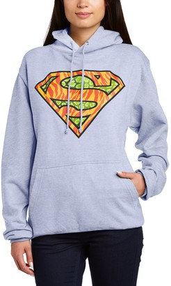 Dc Comics Women's Official Superman Wild Logo Hooded Sweatshirt Hoodie