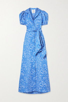 Rosie Assoulin Belted Floral-jacquard Maxi Dress - Blue