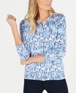 Karen Scott Abstract Print Cardigan Sweater, Created for Macy's