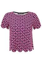 Select Fashion Fashion Womens Multi Fluro Daisy Scallop Tee - size 16