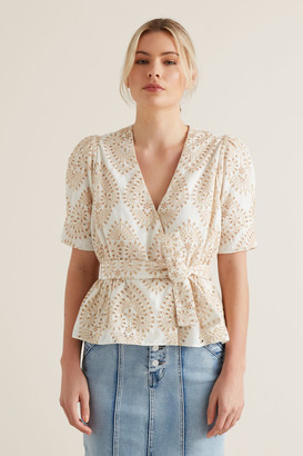 Seed Heritage Two Tone Broderie Wrap Top
