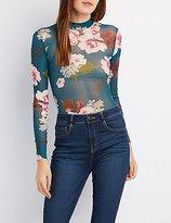 Charlotte Russe Floral Mesh Mock Neck Bodysuit