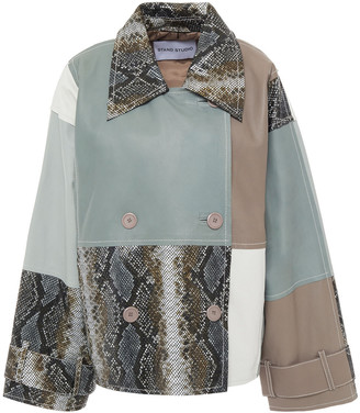 Stand Studio Angela Patchwork-effect Snake-print And Smooth Leather Jacket