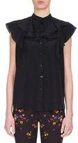Givenchy Crepe de Chine Ruffle-Neck Top, Black