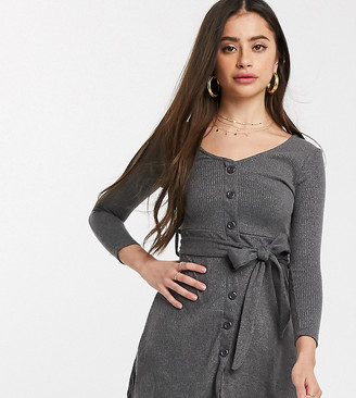 Brave Soul Petite rony button through skater dress with self belt