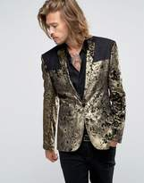 Asos Super Skinny Blazer In Gold Velvet