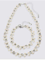 M&S Collection Pearl Effect Flower Choker Necklace & Bracelet Set
