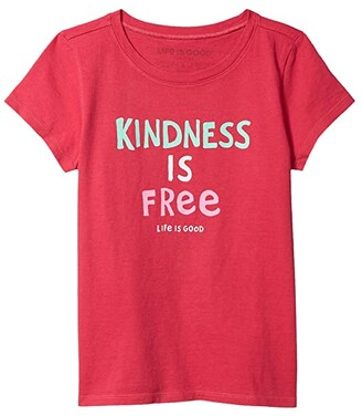 Life is Good Kindness is Free Crusher Tee (Little Kids/Big Kids) (Sangria Red) Girl's Clothing