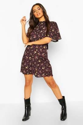boohoo Floral Tie Neck Curved Hem Skater Dress