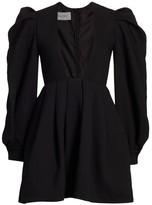 Valentino Puff-Sleeve Deep V Square-Neck Mini Dress
