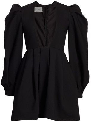 Valentino Puff-Sleeve Deep V Square-Neck Mini Dress