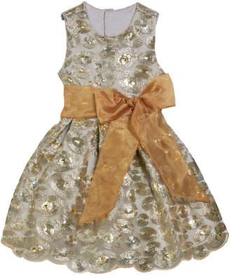 Isabel Garreton Sequin Swirls Party Dress w/ Organza Bow, Size 4-8