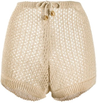 Nanushka perforated drawstring shorts
