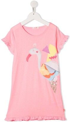 Billieblush Flamingo Print Applique Detail Dress