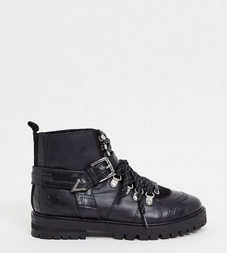 ASRA Exclusive Benji chunky flat hiker boots in black leather mix