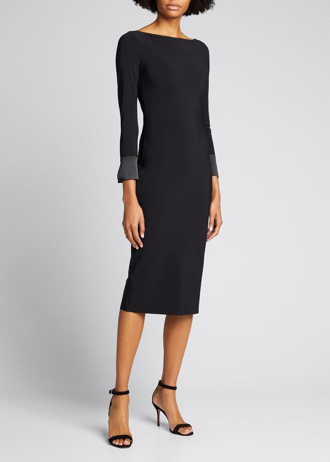 Chiara Boni Boat-Neck Button-Back Sheath Dress