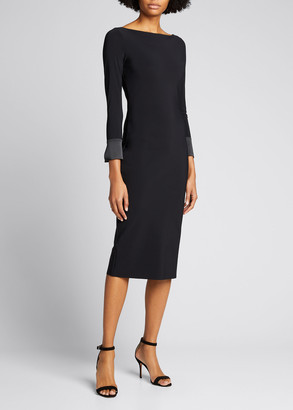 Chiara Boni Boat-Neck Button-Back Sheath Dress