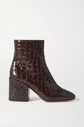Dries Van Noten Croc-effect Glossed-leather Ankle Boots - Dark brown