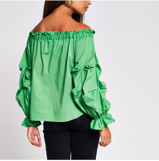 River Island Ruched Bardot Woven Top - Green