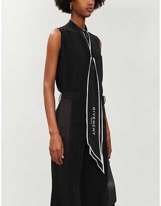 Givenchy Logo-print sleeveless silk-crepe blouse