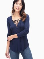 Splendid 1X1 Long Sleeve Lace Up Top