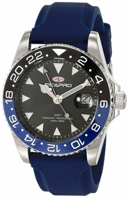Seapro Men's Agent Stainless Steel Quartz Rubber Strap Blue 20 Casual Watch (Model: SP0123)