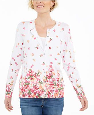 Karen Scott Petite Darling Dream Floral-Print Cardigan